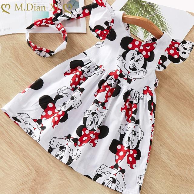 Baby Girls Clothes Summer Dress Flying Sleeve Newborn Infant Dresses Cotton Minnie Dress+Headband Toddler Dresses for Baby Girls 1