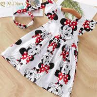 Ropa de verano para niñas pequeñas, vestido infantil de manga voladora, de algodón, Minnie + diadema