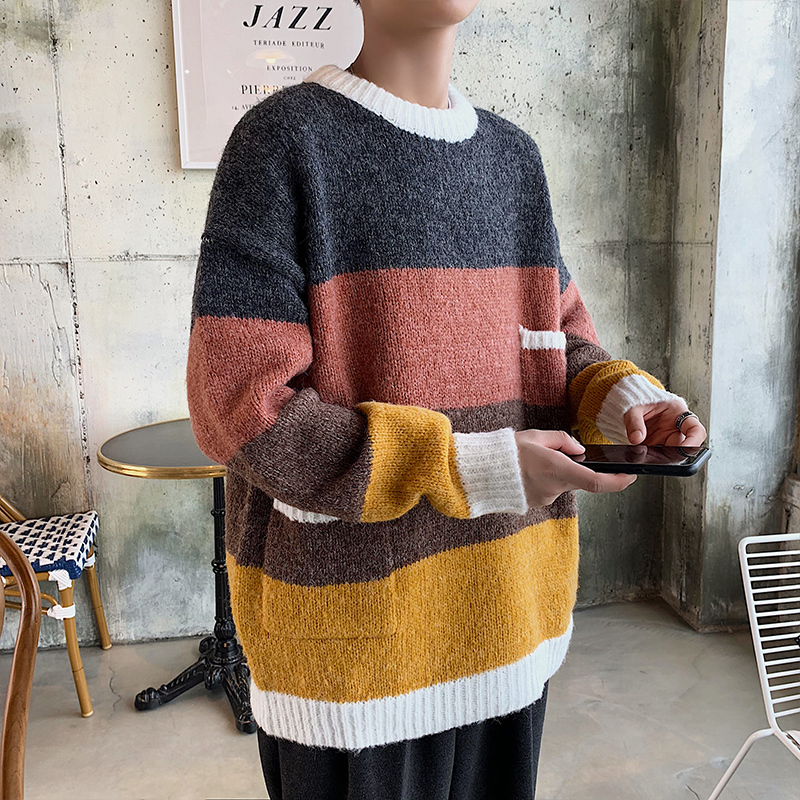 Winter Thick Sweater Men Warm Fashion Contrast Color Casual Knit Pullover Men Sweter Lothes Wild Loose Knitting Sweaters Male