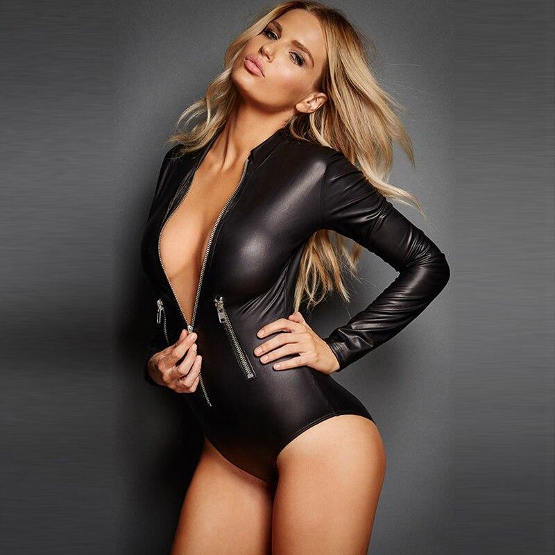 Zip-Front Long Sleeve Bodysuit Women Zipper Black Pu Leather Bodycon Skinny Romper Cool Autumn Jumpsuit