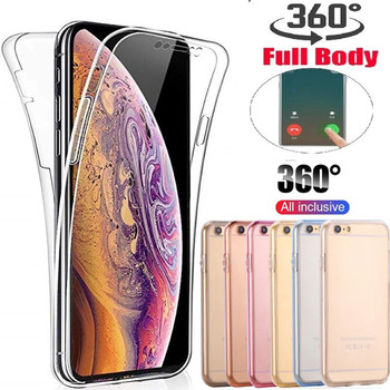 For iphone 11 6 6S 8 7 Plus se 5s 5 X XR XS 11Pro MAX Full Body 360 Degree Protective Soft Silicone Clear ShockProof TPU Cover image