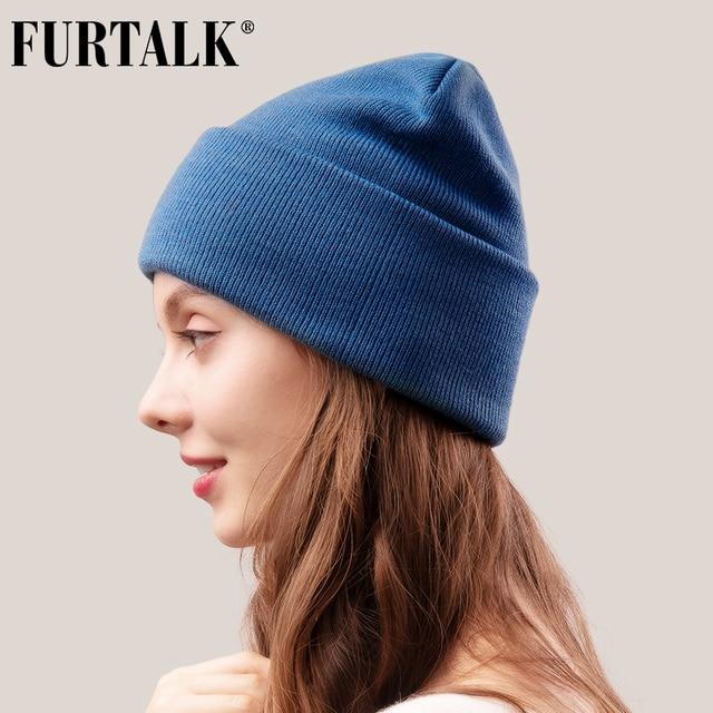 FURTALK Beanie Hat for Women Men Winter Hat Knitted Autumn Skullies Hat Unisex Ladies Warm Bonnet Cap Korean Black Red Cap 1