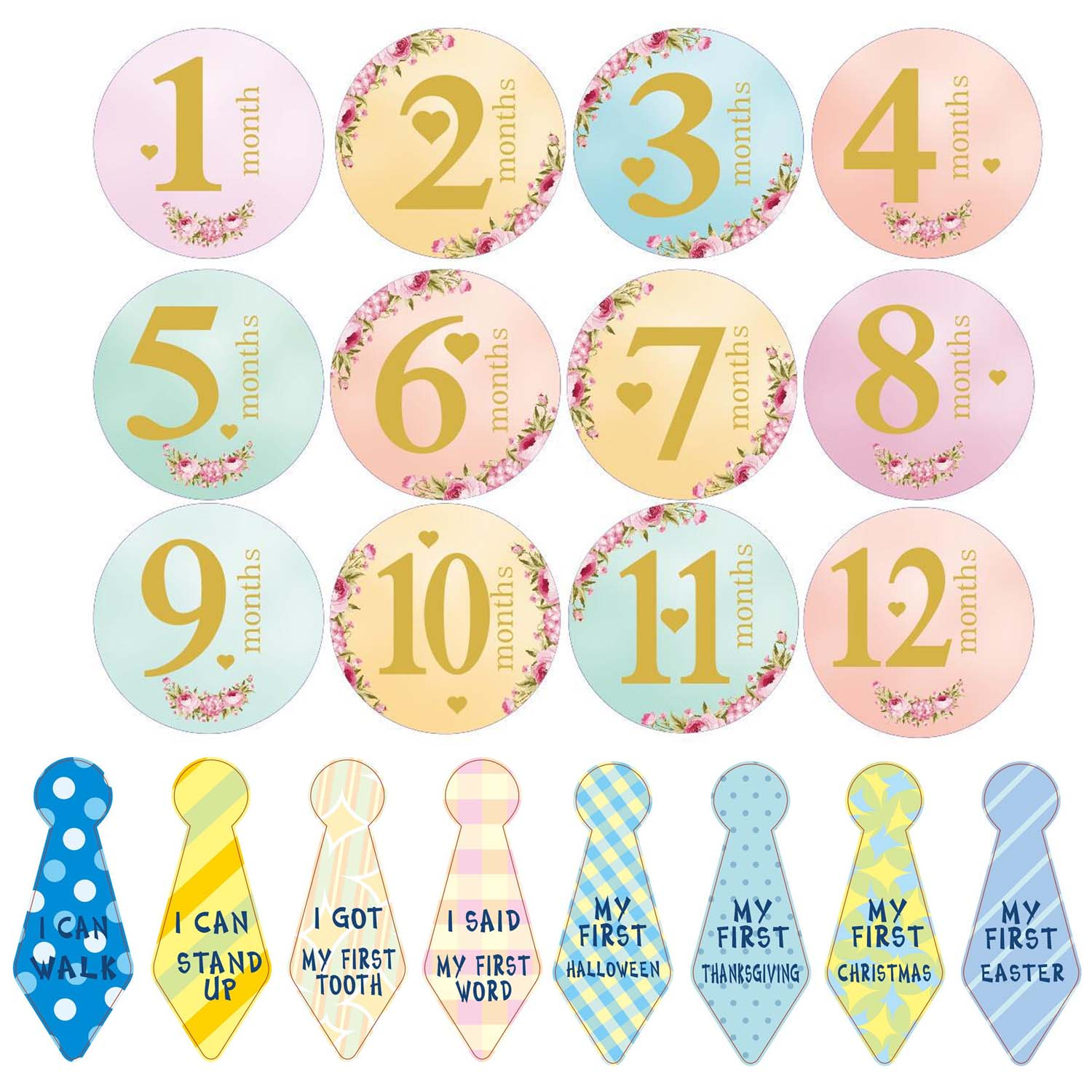 20 Sheet Infants Monthly Milestone Stickers Record 0-12 Months Growth For DIY Scrapbook Keepsake Photo Props