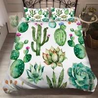 Conjunto de cama de microfibra  conjunto de cama verde  cactus  100%  almofada  plantas tropicais  em vasos  estampa de planta  roupa de cama decoração