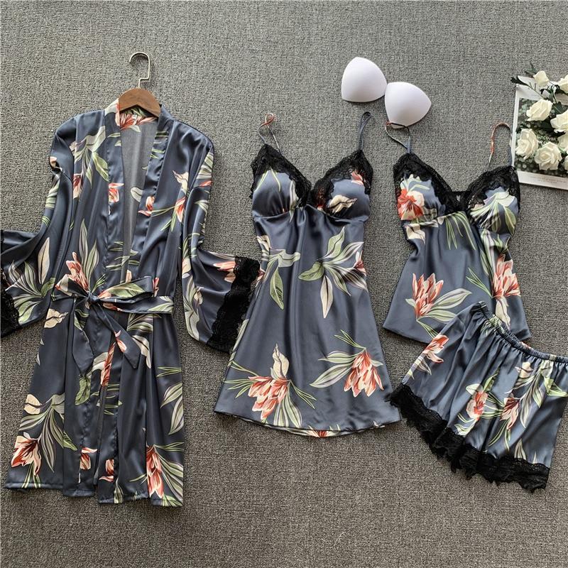 Womens Faux-Silk Soft Pajamas