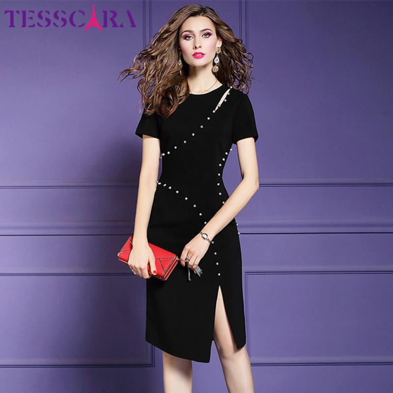 TESSCARA Women Elegant Pearl Beading Pencil Dress Female New Fashion Party Robe Femme Designer High Quality Office Lady Vestidos