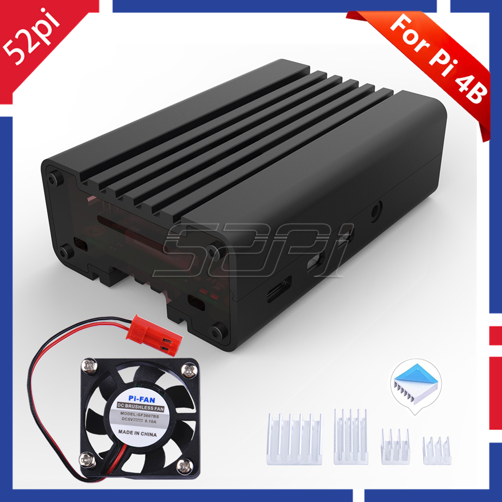 52Pi Black CNC Aluminum Alloy Case Enclosure Shell Cover For Raspberry Pi 4 Cooling Fan Heat Sinks For Raspberry Pi 4B
