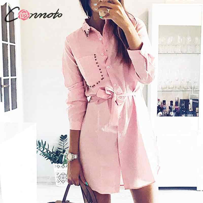 Conmoto automne hiver 2019 court bow robe chemises OL solide blanc robes chemise dames grande taille poche robe 3 couleurs