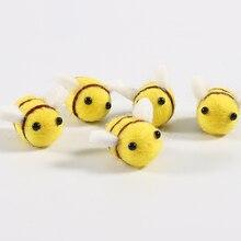5pcs DIY Wool Felt Handmade Animal Cute Bee Decorations Balls Craft for Kids Sewing Toys Christmas Children