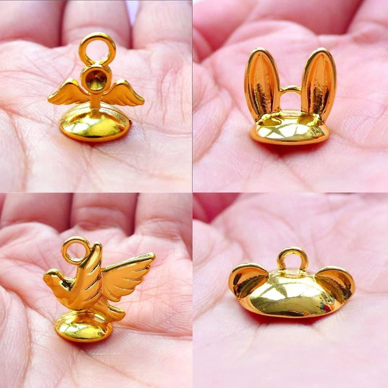 Kawaii Animal Bead Cap With Loop Rabbit Ears Bead Cap Glue On Cover For Glass Globe Bubble Pearl Cup Kawaii Jewelry Supplies