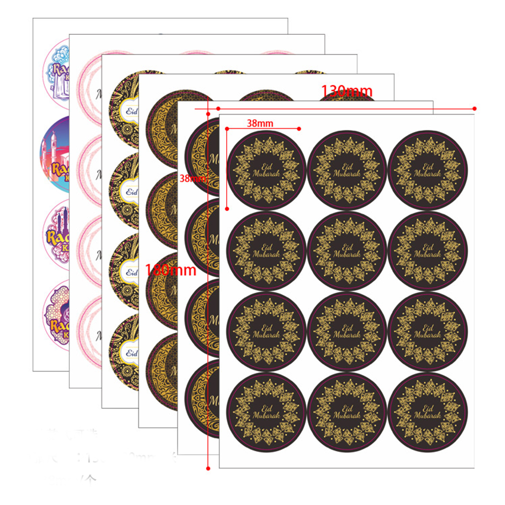 120pcs Ramadan Eid Sticker Eid Mubarak Gift Box Label Paper Bag Seal Sticker Gift Bag Label Seal Sticker Ramadan Kareem Stickers