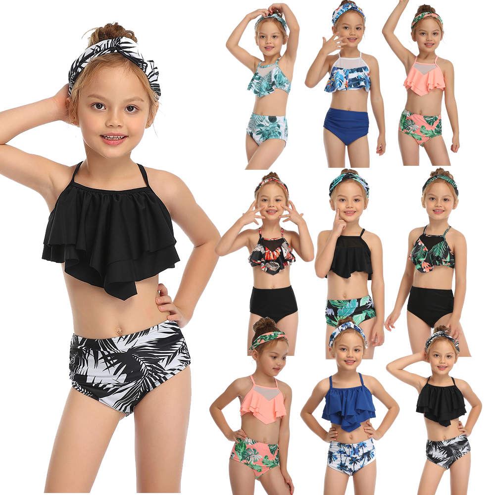 2020 Girl Swimsuit Two Pieces Children's Swimwear Swim Suits Child Ruffle bikinis Split Mesh Bikini Sets Bathing Suit 2-14T