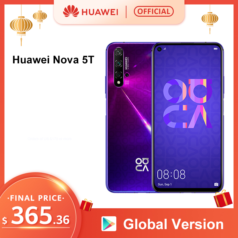 Global Version HUAWEI Nova 5T Smartphone 48MP Cameras 32MP Front Camera Cellphone 6.26'' Full Screen Kirin980 8G 128G Android 9 image