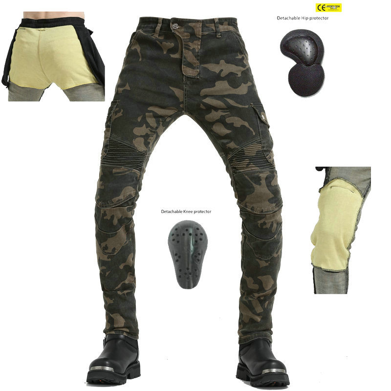 lowest price New Kevlar Motorcycle Pants Men Motocross Pants Biker Motorcycle Jeans Protective Gear Riding Motorbike Pantalones Moto Pants