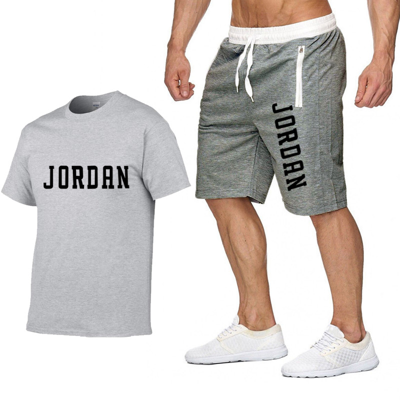 2020 New T Shirt+shorts Sets Men Letter Printed Summer Suits Casual Tshirt Men Tracksuits Brand Clothing Tops Tees Set Male 2XL