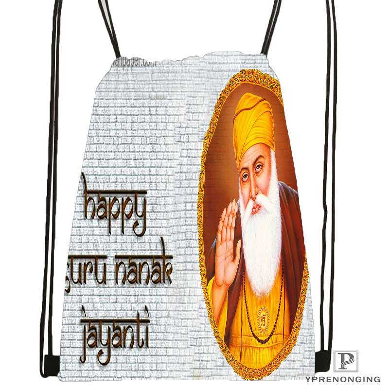 Custom Guru Nanak Dev Pics Drawstring Backpack Bag Cute Daypack Kids Satchel (Black Back) 31x40cm#180531-04-49