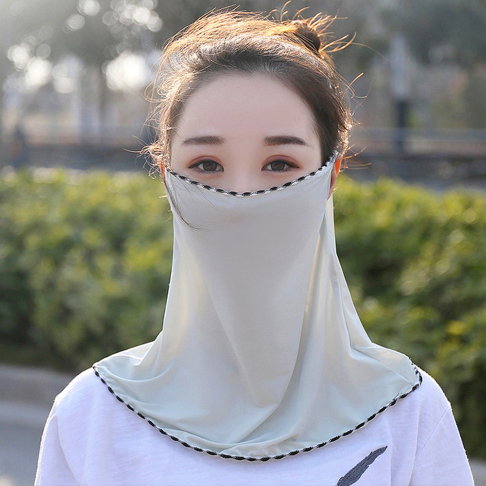 Anti-UV UPF50+ Silk Scarf Mouth Mask Lightweight Face Mask Neck Scarf Sun Protection Outdoor Riding Masks Head Wraps For Women