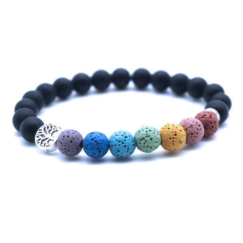 Boom Van Het Leven 8Mm Kleurrijke Zeven Chakra 'S Lava Stone Armband Diy Aromatherapie Etherische Olie Diffuser Armband Yoga Sieraden