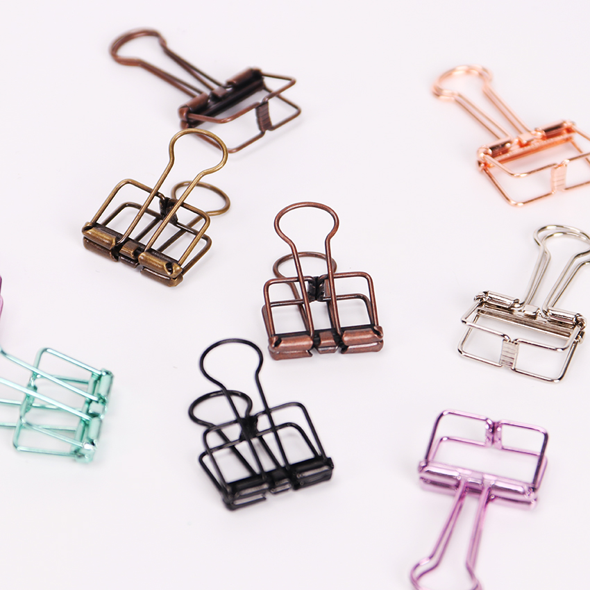 Novelty Solid Color Hollow Out Metal Binder Clips 20mm Notes Letter Paper Clips Office Stationery Supplies 10PCS
