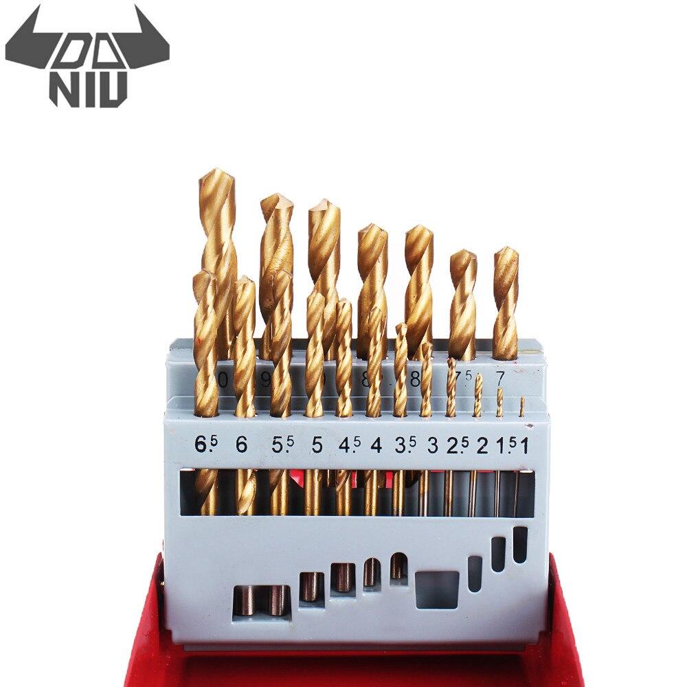 DANIU 19Pcs M2 HSS 6542 Twist Drill Bit Set 1-10mm Titanium Coated Drill Bit Metal Box For Wood Metal Drilling Tools Accessories