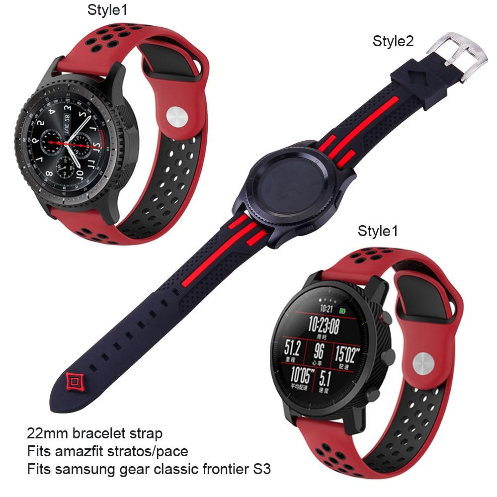 22 мм силиконовый ремешок для часов, браслет, ремешок для Huami Amazfit GTR 47 Pace Stratos 2 2 s, Сменные аксессуары для умных часов, спортивный ремешок