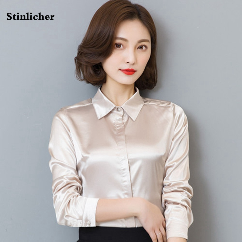 Stinlicher Satin Silk Shirt Women Spring Autumn Long Sleeve Elegant Work Wear Tops Korean Fashion White Blue Black Blouse Shirt