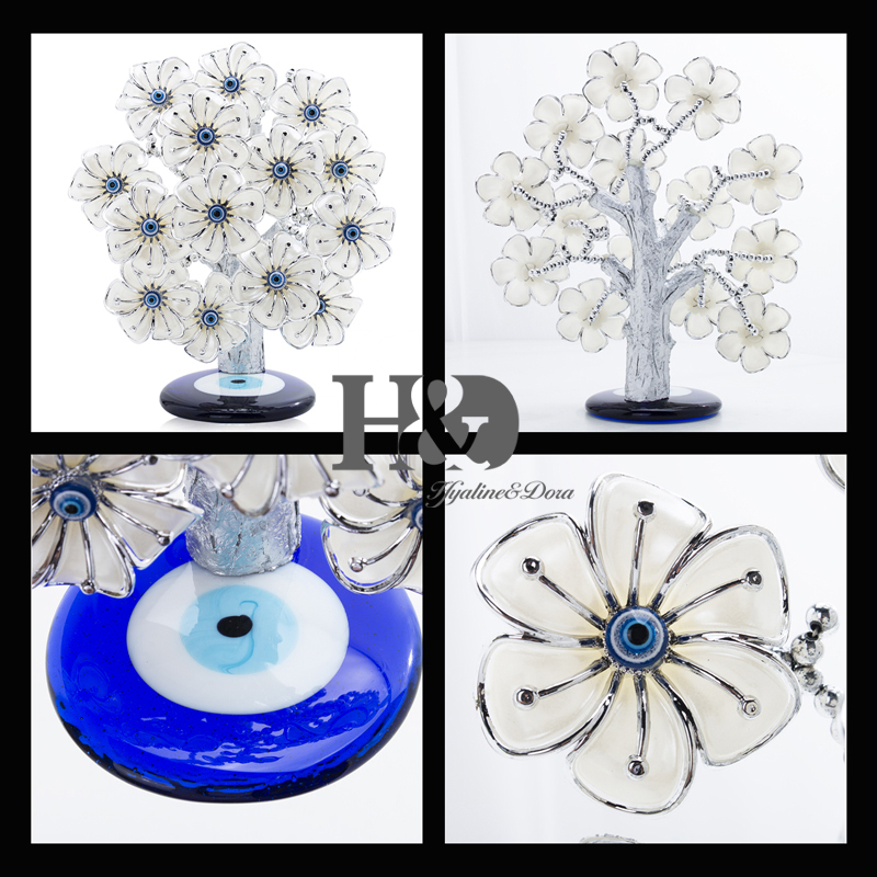 Image 3 - H&D Turkish Feng Shui Lucky Evil Eye Flower Tree For Protection Wealth And Achievement Good Luck Christmas Gift Home Decor ResinFigurines & Miniatures   -