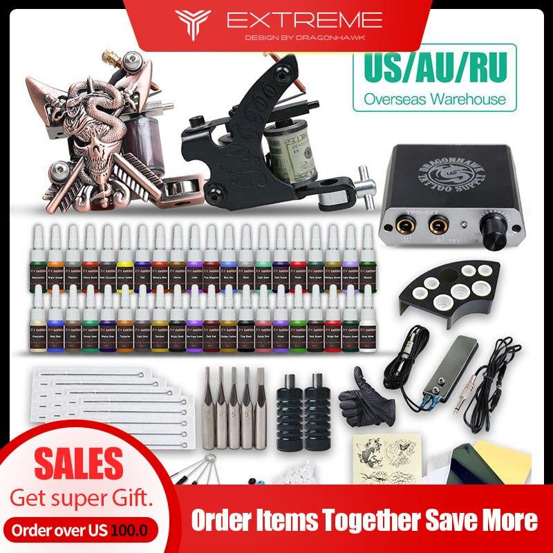 Beginner Complete Tattoo Kit Supplies 2 Machine Guns 40 Color Inks Power Supply Needles Grip Tip Set HW-10GD