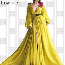 تصميم الأزياء الأصفر مسلم الرسمي مساء اللباس 2019 طويلة العميق الخامس الرقبة العربية حفلة موسيقية اللباس حزب مع الزنانير التركية Vestidos