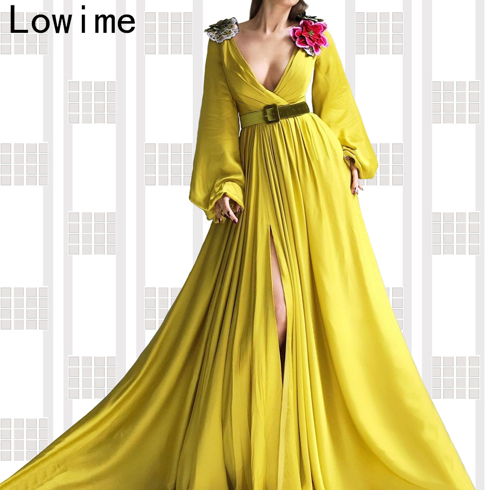 Fashion Design Yellow Muslim Formal Evening Dress 2019 Long Deep V-Neck Arabic Prom Dress Party With Sashes Turkish Vestidos