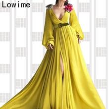 Fashion Design Yellow Muslim Formal Evening Dress 2019 Long Deep V Neck Arabic Prom Dress Party With Sashes Turkish Vestidos
