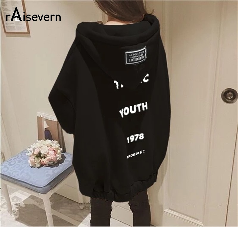 Raisevern New Women Thick Hoodie TRAGIC YOUTH Letter Print Coat Womens Fashion Zipper Jacket Loose Oversize Hooded Tops Dropship image
