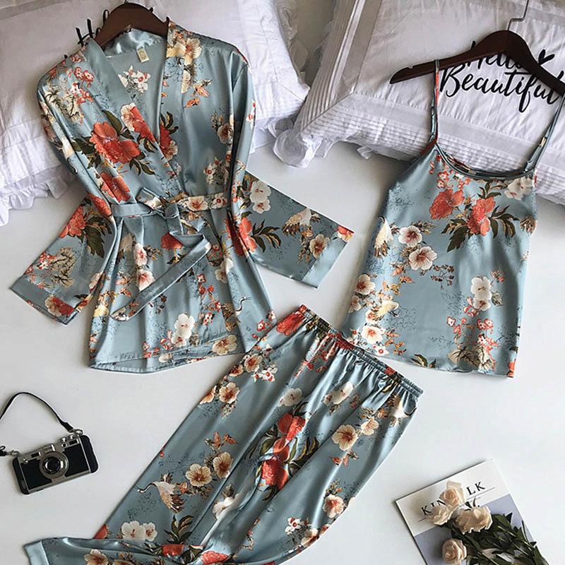 3PCS Frauen Pyjamas Set Dame Emulation Seide Pyjama Sets Blume Nachtwäsche Weibliche Leopard Satin Homewear Mit Abnehmbare Gepolsterte