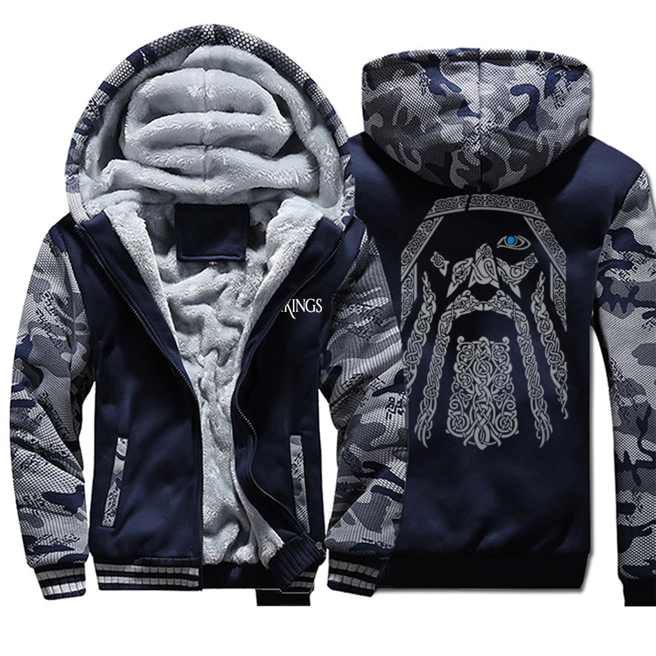 2019 New Odin Vikings Camo Hoodie Men Fashion Viking Sportswear Retro Casual Hip Hop Streetwear Autum Men'S Outwear Coats
