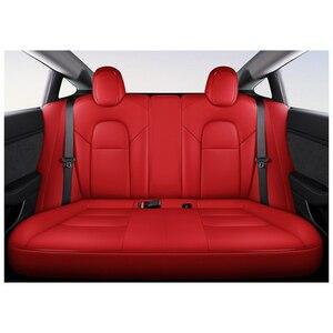Image 5 - Mode Auto Speciale Lederen Bekleding Voor Tesla Model 3 2019 2020 Auto Decoratie Interieur Accessoires Protector Kussen 1 Set