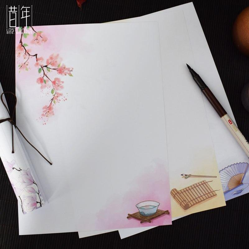 Набор бумажных конвертов в античном стиле для письма, художественная и художественная хипстерская ручка с простым буквенным принтом