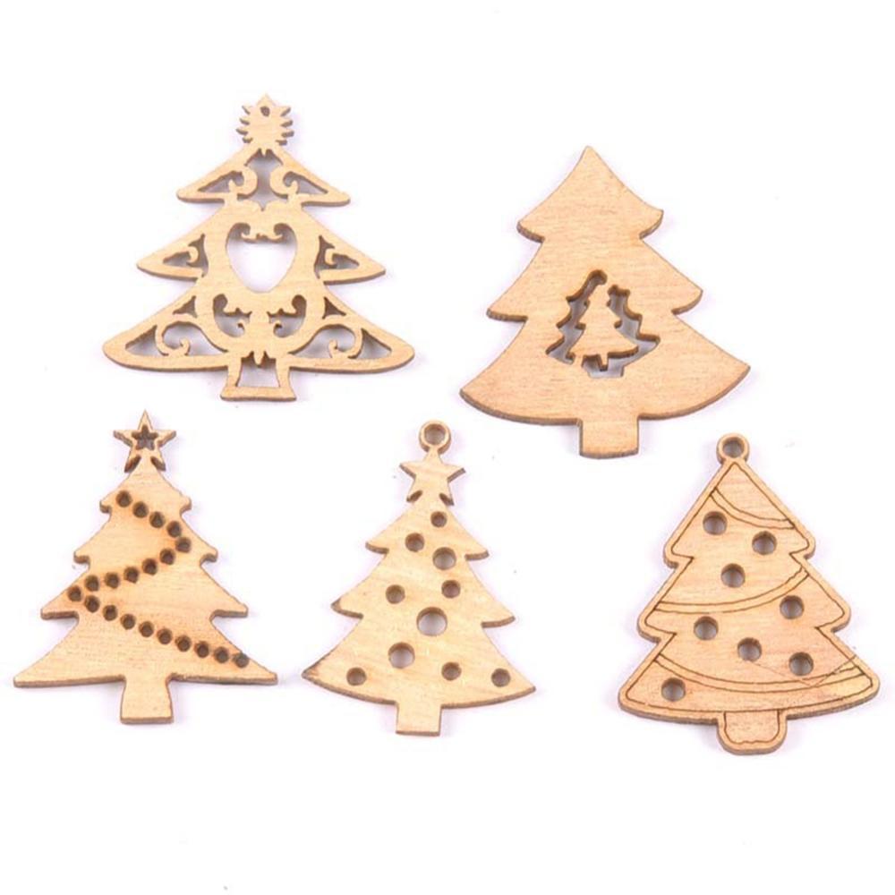 10Pcs/Set Wooden Christmas Tree Hanging Decoration Piece Hollow Element Shape