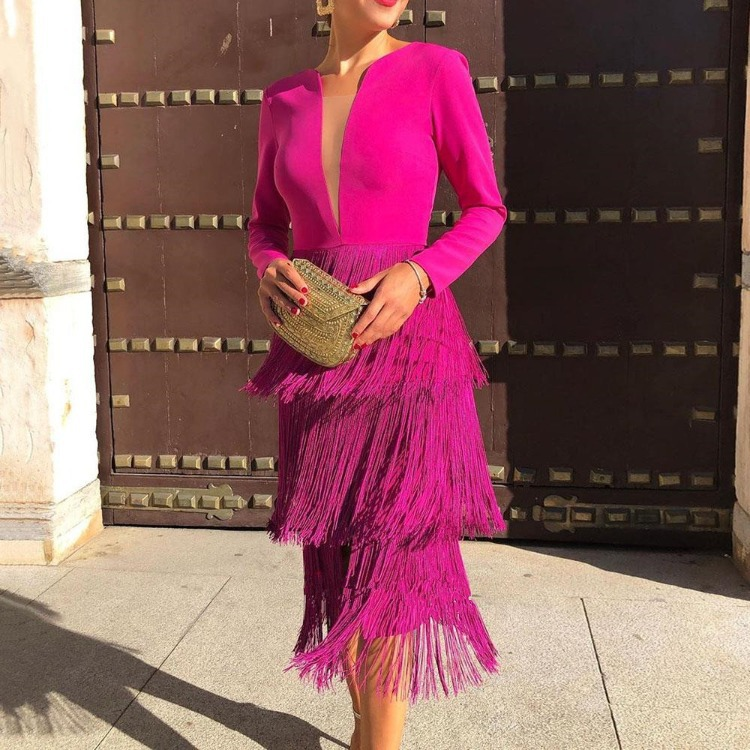 Rose Red Long Sleeves Tassels Women Midi Dress Deep V Neck Sexy Patchwork With Zipper Female Date Out Fashion Spring 2020 New