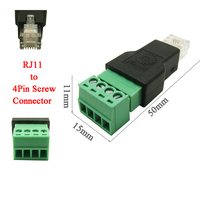 50pcs RJ11 Male to 4 Pin connector 4P4C 4 Pins 4 Contacts RJ11 Telephone Modular Plug Jack,RJ11 Connector