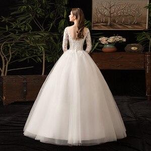 Image 4 - 35% rabat nowa jesienna suknia ślubna z długim rękawem Elelgant królewski tren koronkowy haft księżniczka Vintage Plus Szie suknie ślubne