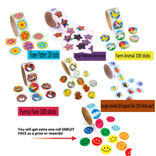 Stickers Smiley-Face Fish-Flower Animal-Star Party-Favors Kids 6-Rolls Jungle-Farm Each