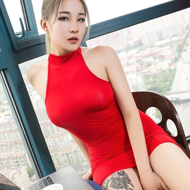 Sexy secretary costume Smooth high transparent polychromatic collocation suit tight short dress Temptation women erotic clothing 4