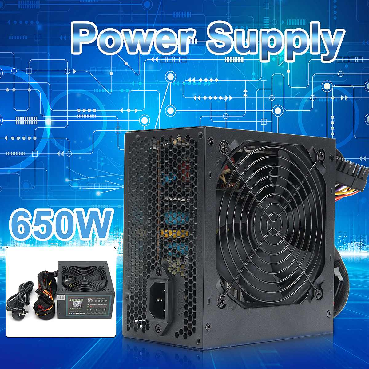 650W Peak- PSU ATX 12V Gaming PC Power Supply 24Pin / Molex / Sata 12CM Fan Computer Power Supply For BTC