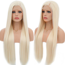 カリスマ絹のようなストレート髪合成レースフロントウィッグ #60 ブロンドかつら耐熱のためのナチュラルヘアラインかつら女性合成なしのレースのかつら