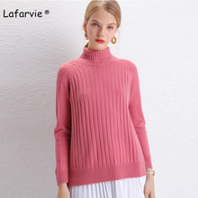 Lafarvie Knitted Turtleneck Cashmere Sweater Women Tops Full Sleeve Pullover Female Loose Thick Csual Jumper High Quality S-XXL цена