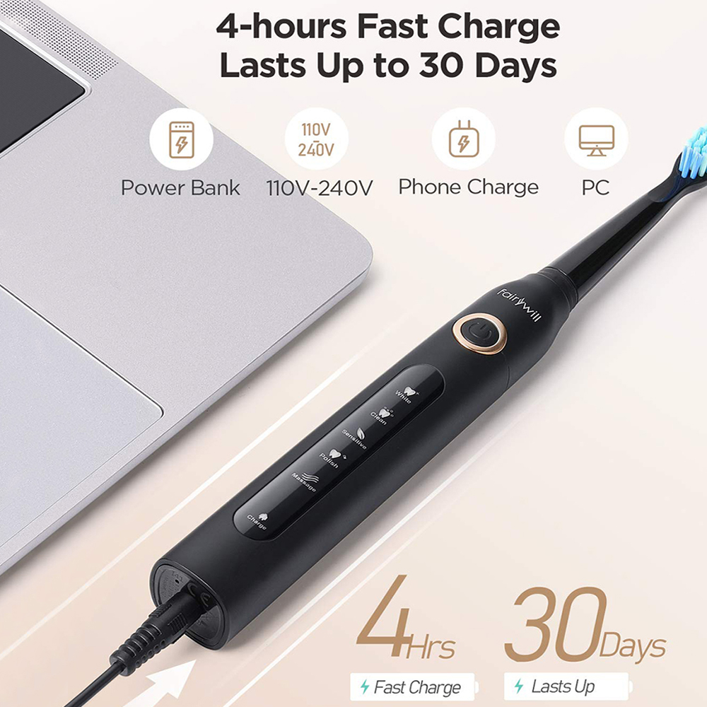 Fairywill Sonic Electric Toothbrush Rechargeable Timer Brush 5 Mode USB Charger Tooth Brushes Replacement 3 Brush Head Set Adult