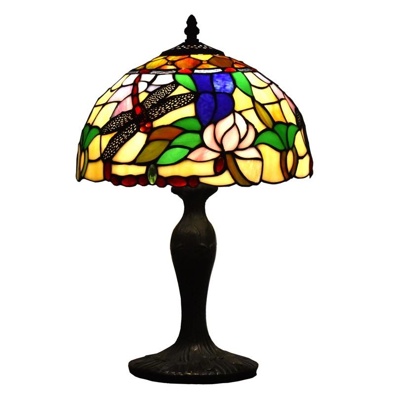 Tiffany Style lampe de Table libellule Lotus bureau lumière luminaire 18 pouces pour salon café chambre collège dortoir décoration