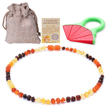Baltic Amber Teething Necklace For Baby (Unisex) (Multicolor)100% USA Lab-Tested Authentic Amber Natural Teething Pain Relief amber teething necklace for baby multicolor 3 sizes natural stone diy beads necklace baby accessories lab tested