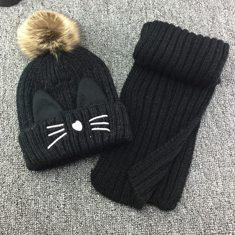 Cute Cat Ear Beanie Scarf Set For Kids Girls Winter Pom Pom Hat And Scarf 2 Pieces Knitted Beany And Scarf Set