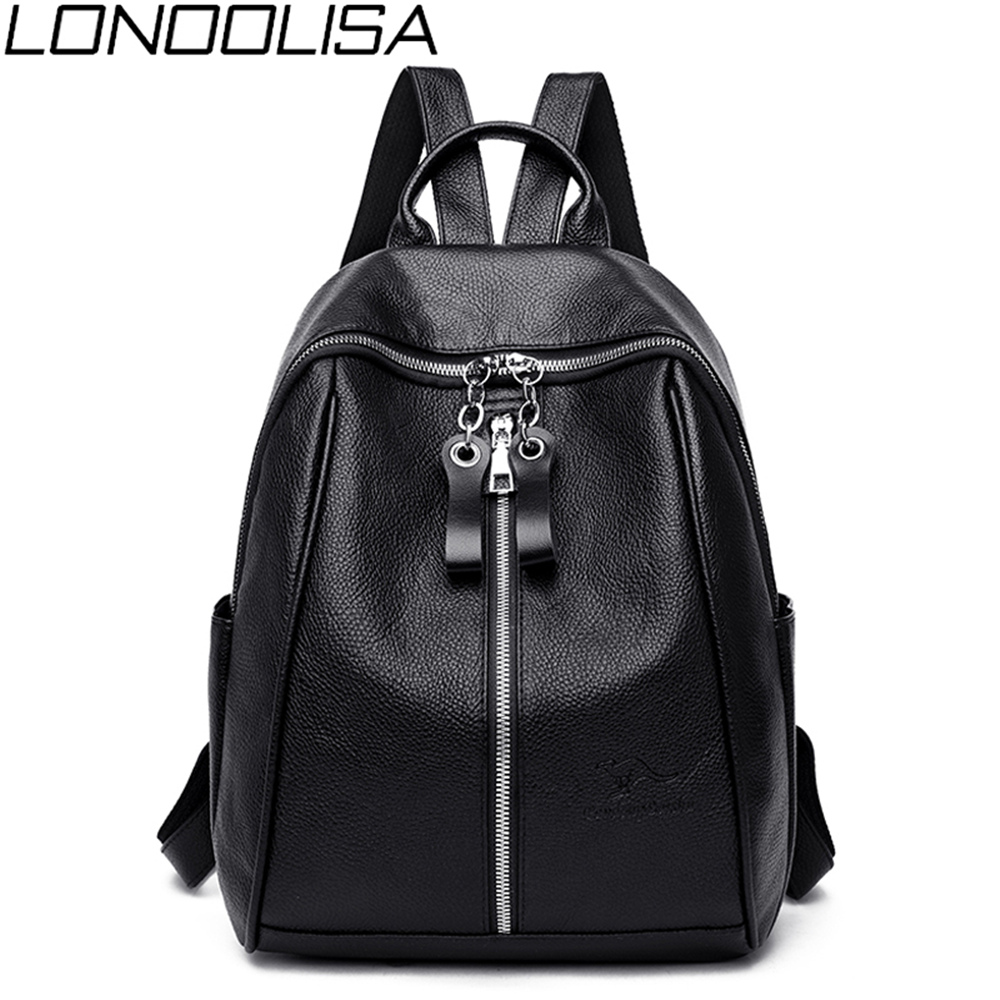New High Quality Soft <font><b>Leather</b></font> Ladies <font><b>Backpack</b></font> Casual Style Solid womens Bag Black Large Capacity Back Bag Sac A Dos Femme image